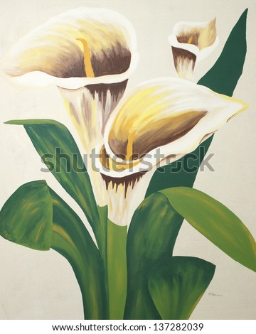 A painting of calla lilies on a canvas.