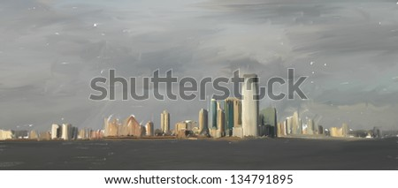 A painting of New York skyline - stock photo