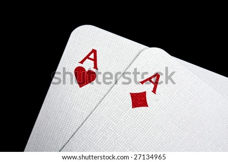 A pair of aces isolated on black