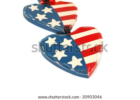 A pair of American flag hearts isolated on the white.