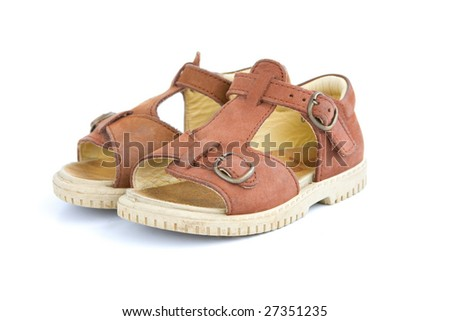 A pair of baby toddlers brown open shoes - stock photo