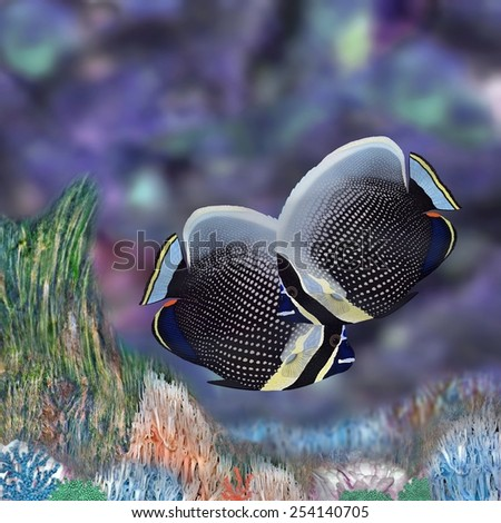 A pair of beautiful Reticulated Butterflyfish (Chaetodon reticulatus) in an interesting coral habitat. The fish were drawn and digitally painted by Steven Russell Smith. - stock photo