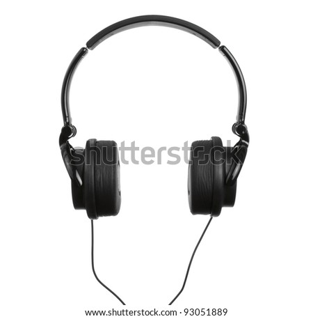 A Pair of Black Headphones Isolated on a White Background - stock photo