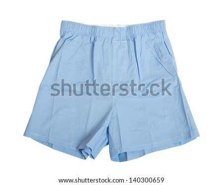 A pair of blue boxer shorts isolated on white