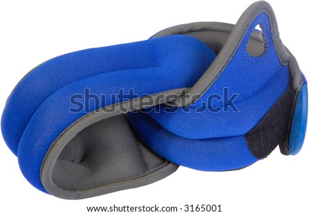 A pair of blue isolated wrist weights.