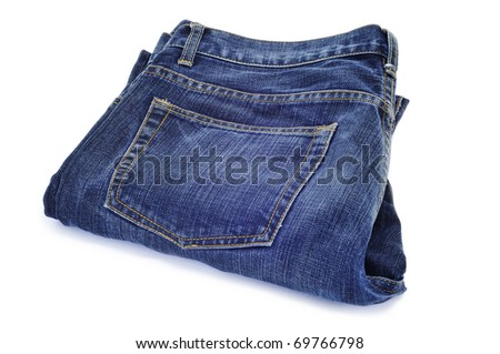 a pair of blue jeans on a white background - stock photo
