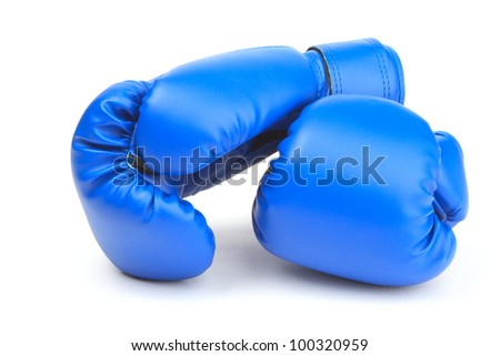 A pair of blue protective boxing gloves - stock photo
