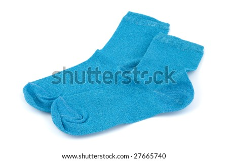 A pair of blue socks isolated on white - stock photo