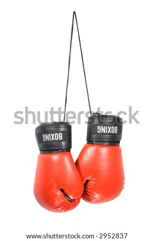 A pair of boxing gloves isolated on a white background - stock photo