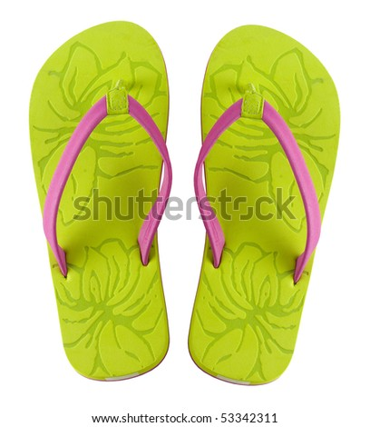 A pair of brightly colored flip flops shot on white background - stock photo