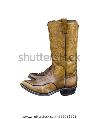 A pair of brown cowboy boots isolated on a white background.