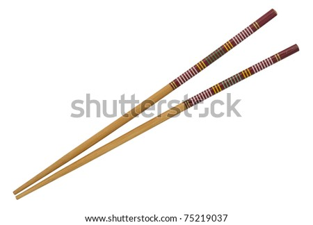A pair of chopsticks isolated on white - stock photo