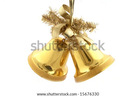 A pair of christmas decorations. Gold bells with ribbon