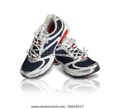 A pair of classy sports shoes in blue and red color - stock photo