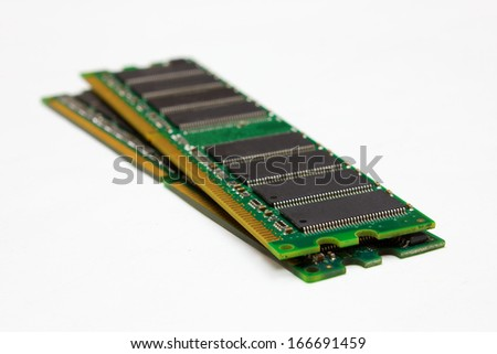 A pair of computer DDR memory modules, isolated on white background
