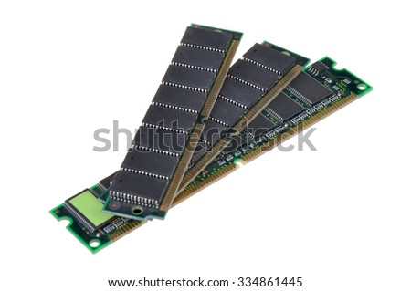 A pair of computer DDR RAM memory module isolated on white