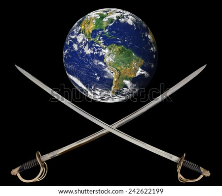 A pair of crossed cavalry sabres under an earth image emblematic of the worldwide terrorist and military tensions of the 21st century.  Elements of this image furnished by NASA - stock photo