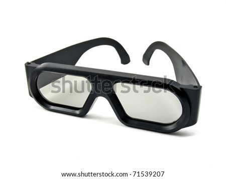 A pair of 3D movie glasses for the cinema - stock photo