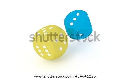 A pair of dices (one yellow and one blue dice) rolling / thrown. Two dice isolated on white background, 3D render. - stock photo