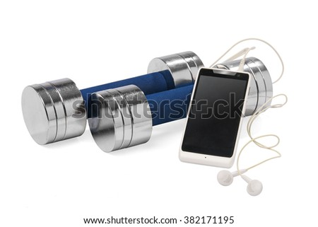 A pair of dumbbells and a smartphone. Fitness concept isolated - stock photo