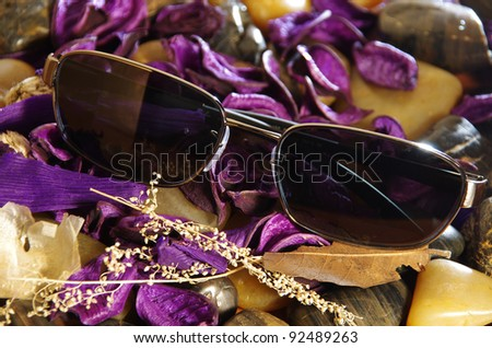 A pair of fashionable sunglasses lying amongst colourful purple petals on pebbles. - stock photo