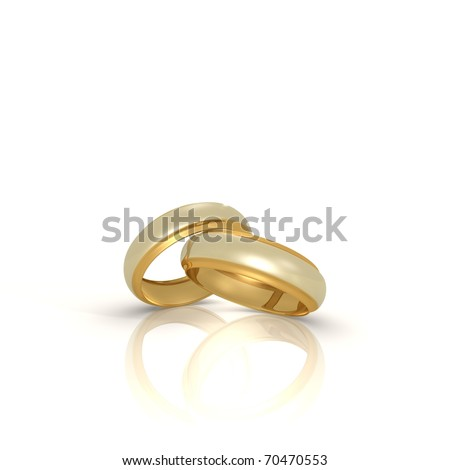A pair of gold and silver wedding rings - a 3d image - stock photo