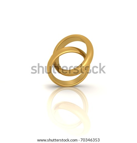 A pair of gold wedding rings - a 3d image - stock photo