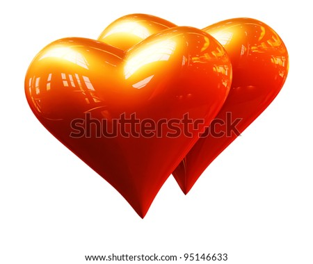 A pair of golden hearts on a white background - stock photo