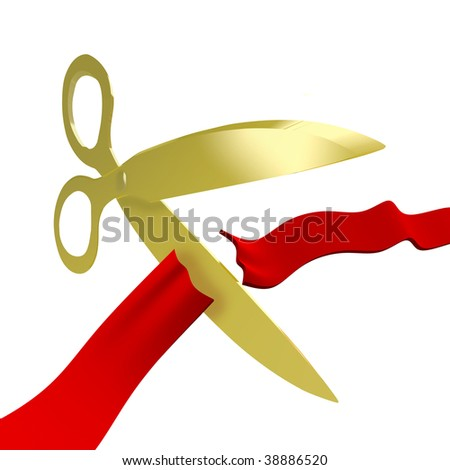 A pair of golden scissors cuts a ceremonial red ribbon for a grand opening