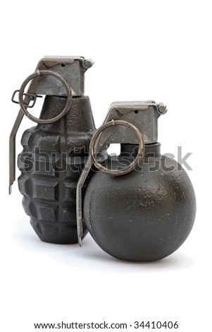 A pair of green hand grenades on white background.
