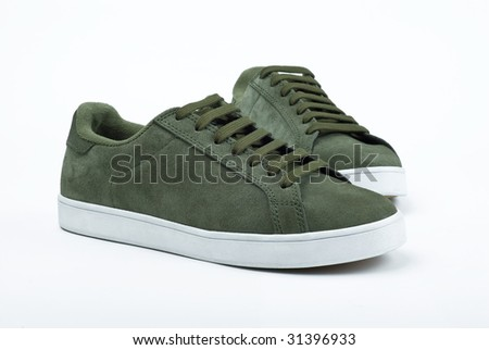 A pair of green sport sneakers