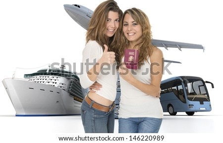 A pair of happy female friends in a travelling context - stock photo