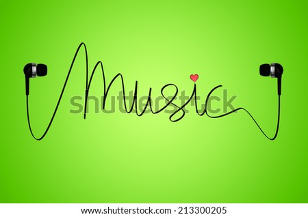 A pair of headphones on a green back-lit background with the cable from the headphones spelling the word music, with a small pink heart over the letter 'i'. - stock photo