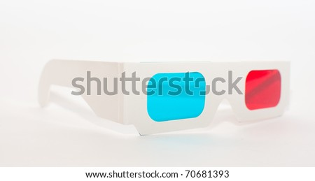 A pair of high quality paper anaglyph 3D glasses. - stock photo