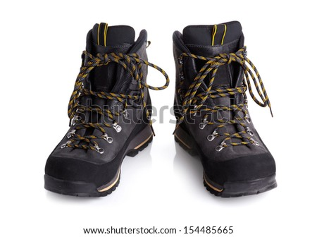 A pair of  hiking boots isolated on white background