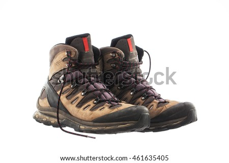 A pair of Hiking boots, isolated on white background