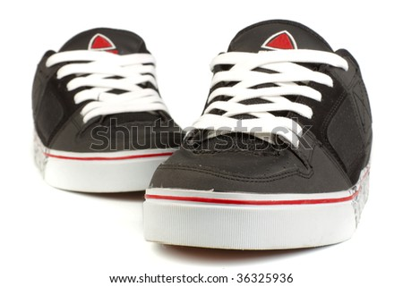 A pair of jogging shoes on a white background