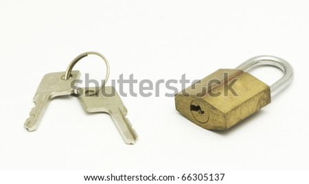 a pair of key and padlock, isolated on white.