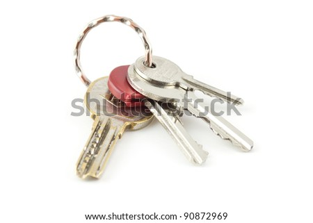 A pair of keys isolated on white background - stock photo