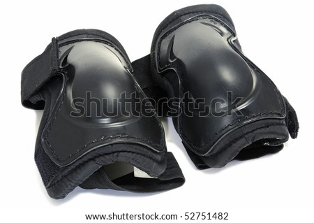 a pair of knee protectors isolated on a white background - stock photo