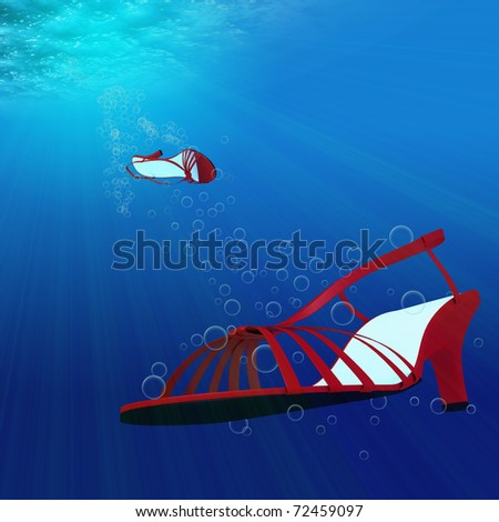 a pair of ladies shoes diving into the blue depth of the sea - stock photo