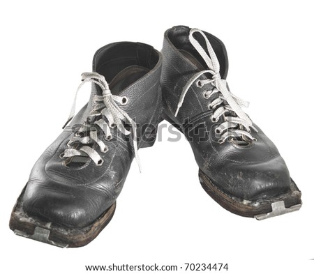 A pair of mens black ski boots (since exUSSR) - stock photo