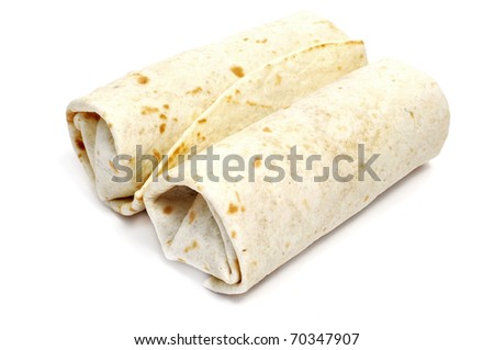 a pair of mexican burritos isolated on a white background - stock photo