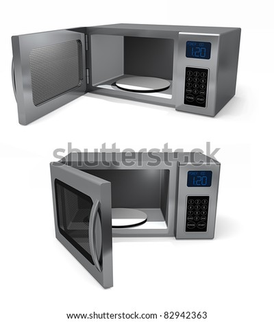 A pair of Microwave ovens with doors open. Isolated on a white background