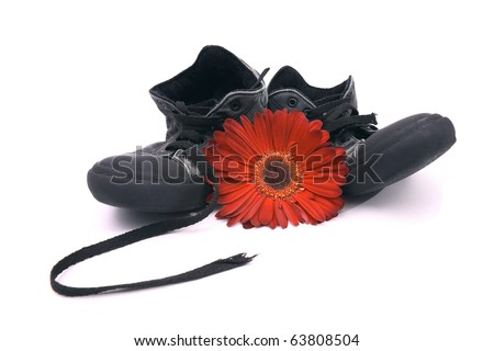 A pair of old shoes and a beautiful red flower isolated on white. - stock photo
