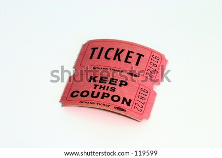 A pair of pink raffle tickets, isolated. - stock photo
