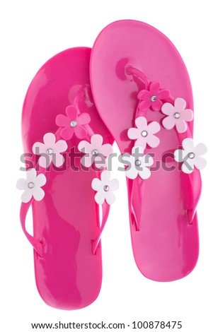A pair of pink slap, isolation on white - stock photo