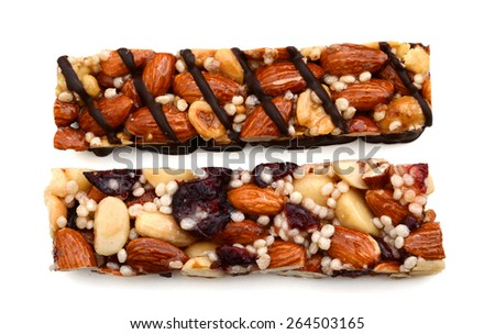 a pair of protein bar on white background  - stock photo