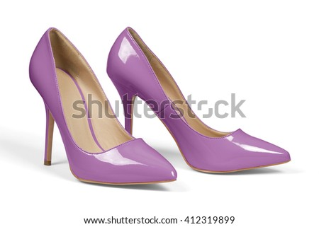 A pair of purple high heel shoes isolated on white with clipping path.