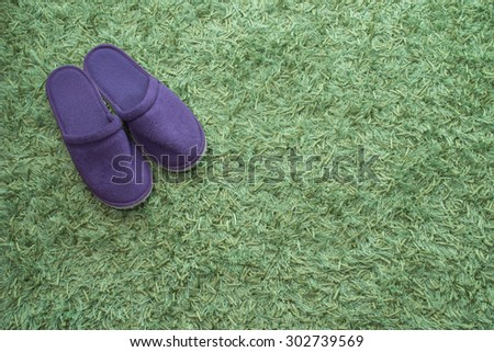 A pair of purple slippers on a green carpet,home decoration concept background - stock photo